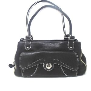 Cole Hann Black Leather  Bi Fold Hobo Bag